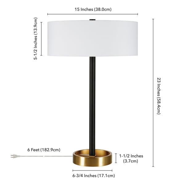 Two Tone Matte Black and Brass Table Lamp