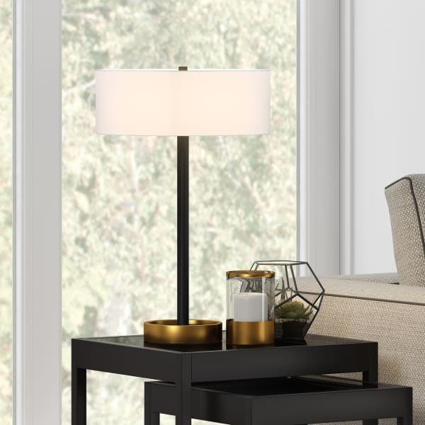 Estella Two-Tone Matte Black and Brass Table Lamp