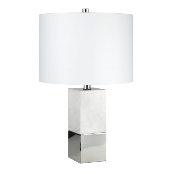 Lena Cararra-Style Marble and Polished Nickel Table Lamp