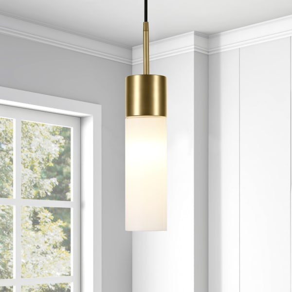 Lance Brass and Milk White Glass Pendant
