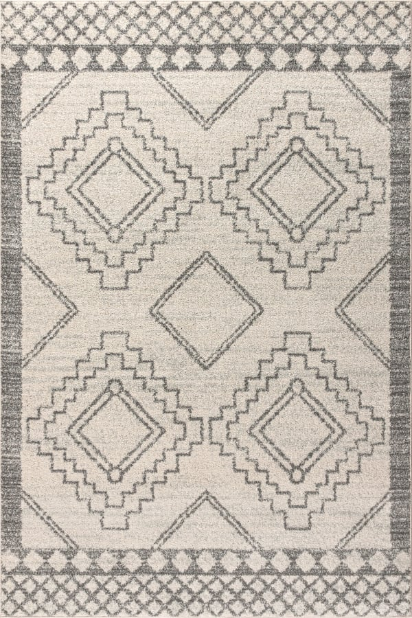 Moroccan Beni Souk Cream/Gray 4' x 6' Area Rug