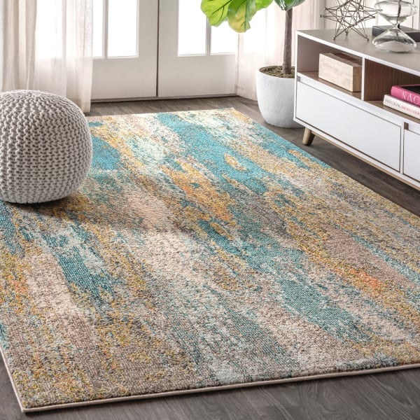 Contemporary POP Modern Abstract Vintage Waterfall Blue/Brown/Orange Area Rug