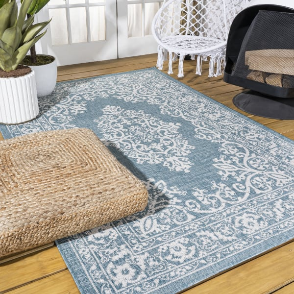Galon Filigree Indoor/Outdoor Teal/Ivory Area Rug
