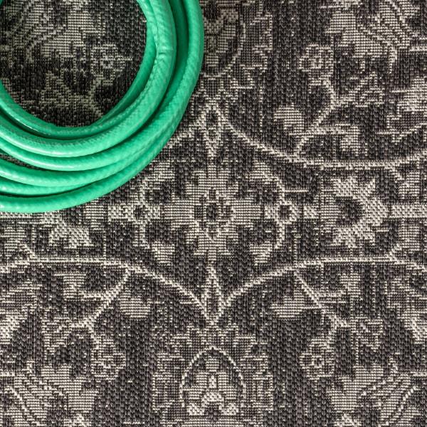 Vine and Border Textured Weave Indoor/Outdoor Black/Gray Runner Rug