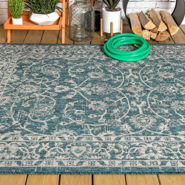 Vine and Border Textured Weave Indoor/Outdoor Teal/Gray Area Rug
