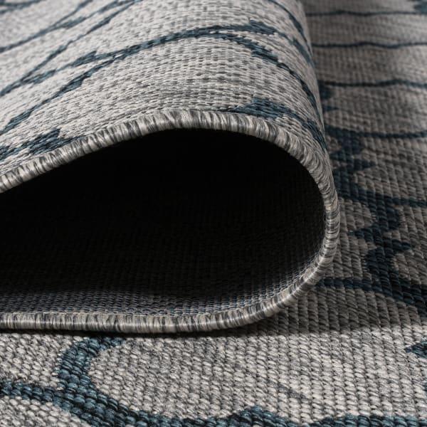 Arabesque Ogee Trellis Indoor/Outdoor  Gray/Teal Runner Rug