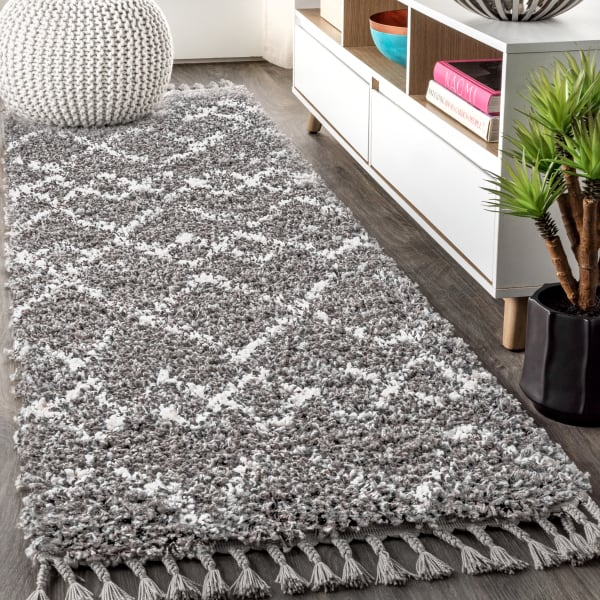 Shag Plush Tassel Moroccan Tribal Geometric Trellis Grey/Cream Runner Rug