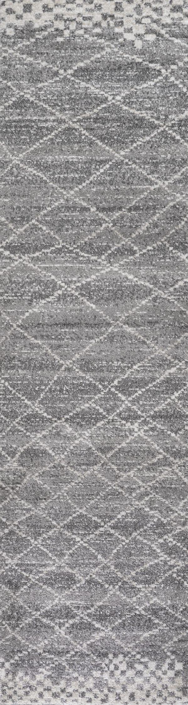 Moroccan Modern Diamond Gray Runner Rug