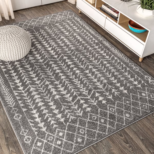 Moroccan Geometric Grey/Cream Area Rug