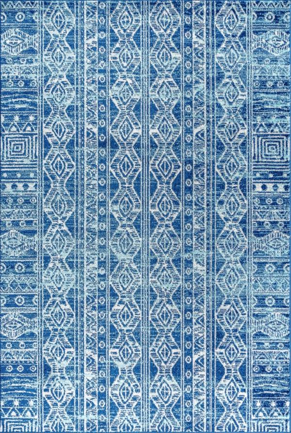 Moroccan HYPE Boho Vintage Tribal Blue/Gray Area Rug