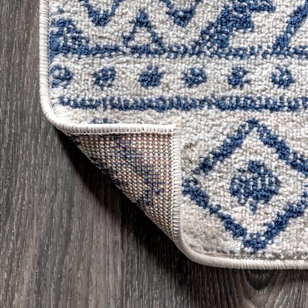 Moroccan HYPE Boho Vintage Tribal Cream/Blue Runner Rug