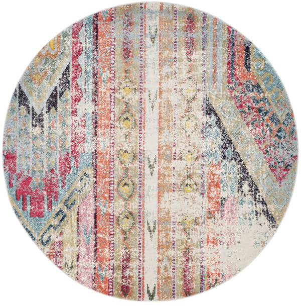 Round Multicolored Polypropylene Rug 7'