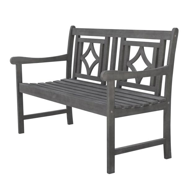 4-foot Gray Acacia Wood Outdoor Bench