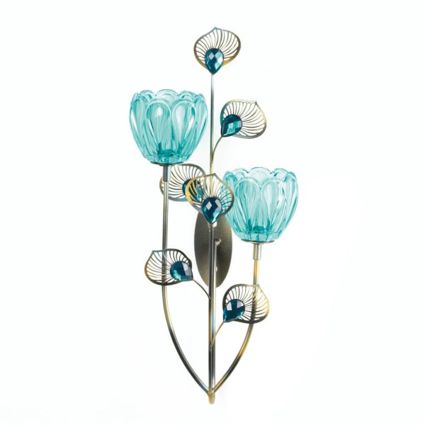 Peacock Blossom Candle Wall Sconce