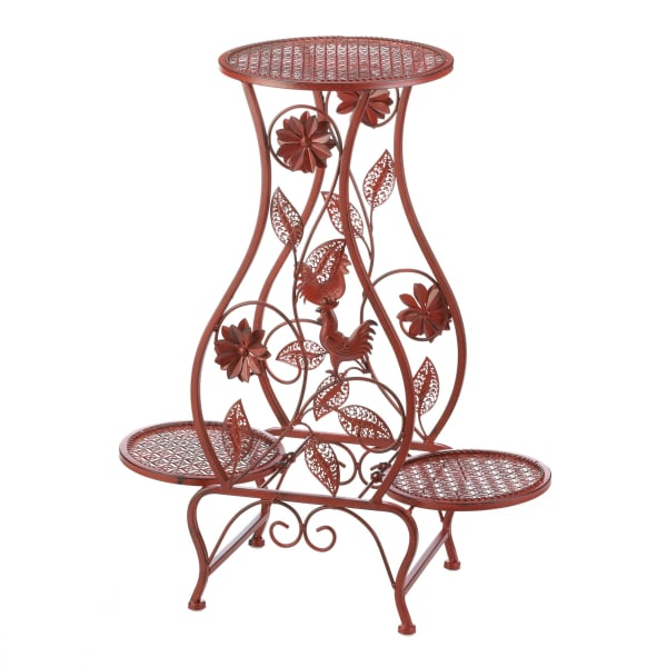 Red Rooster Hourglass Triple Plant Stand