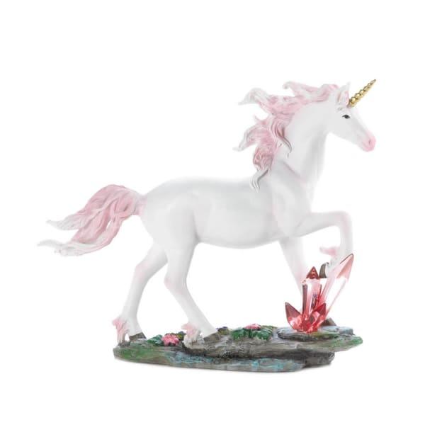 Unicorn Running Through Crystals Figurine