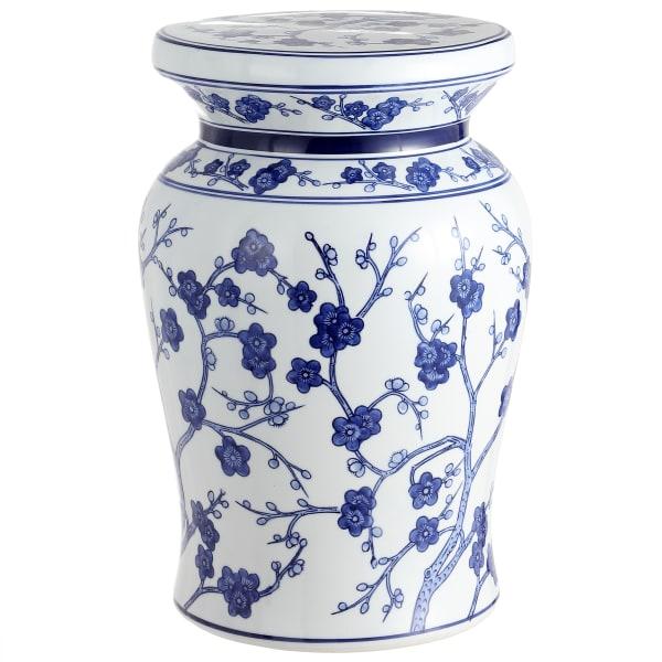 Cherry Blossom Ceramic Garden Stool, White/Blue