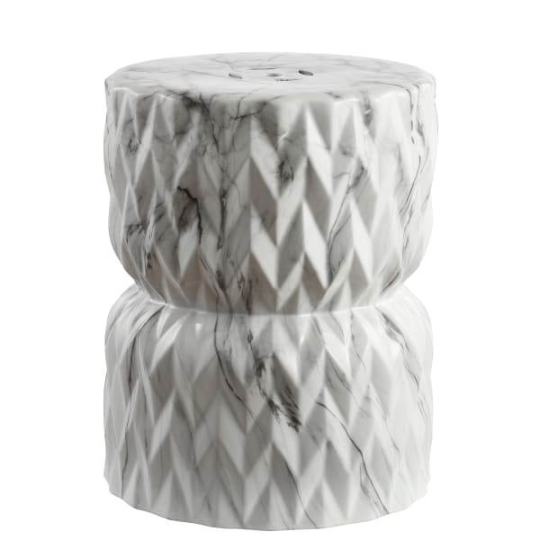 Chevron Drum White Marble Finish Ceramic Garden Stool