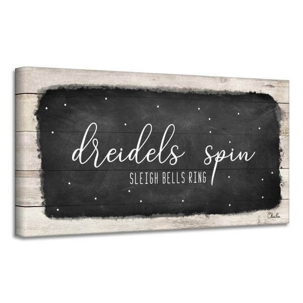 Dreidels Spin, Sleigh Bells Ring Black Hanukkah Canvas Wall Art