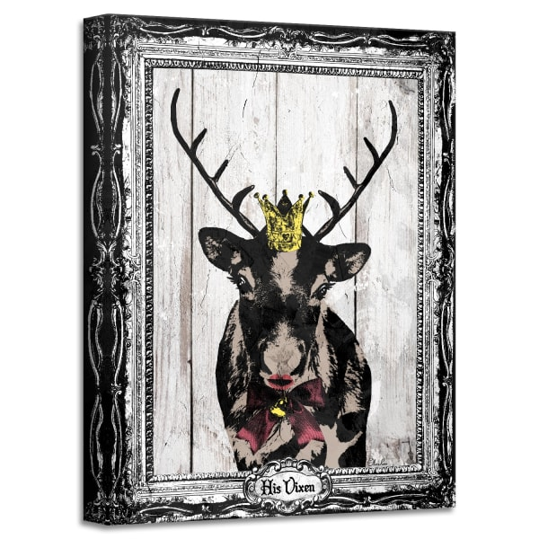 His Vixen Beige Holiday Canvas Wall Art