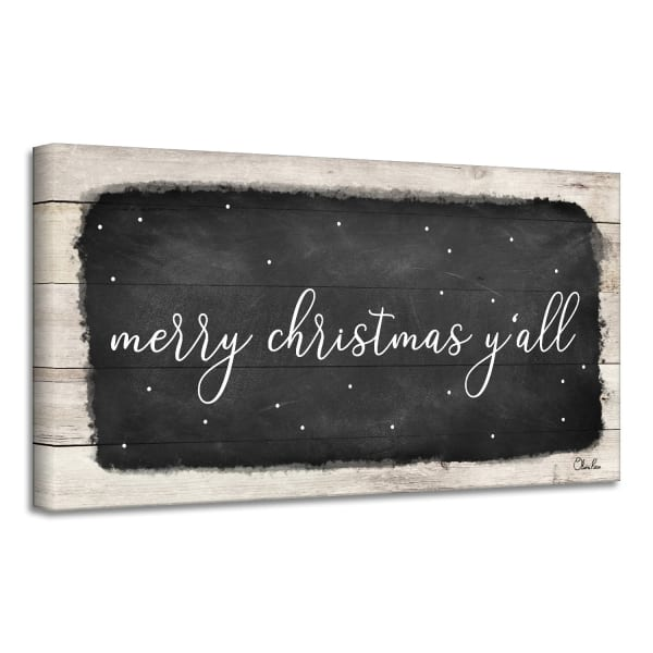 Merry Christmas Y'all Black Holiday Canvas Wall Art