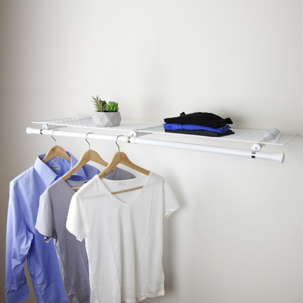 Wall Mount Double Wire Shelves with Hanger, White