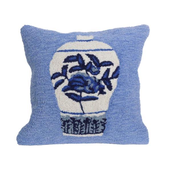 Ginger Jars Blue Outdoor Pillow