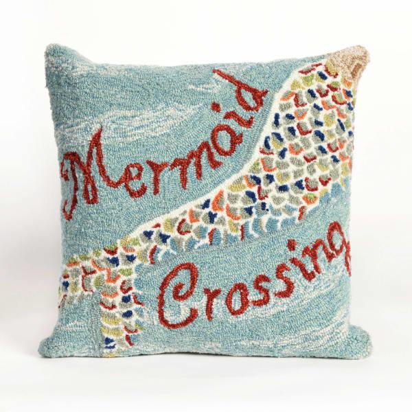 Mermaid Crossing Water Outdoor Pillow