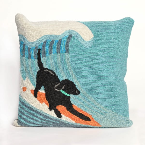 Surfing Dog Outdoor Pillow