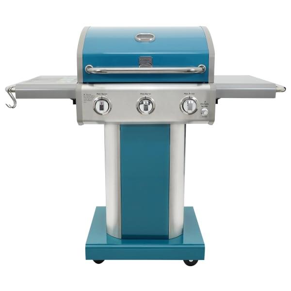 Kenmore 3 Burner Pedestal Grill with Folding Side Shelves in Teal