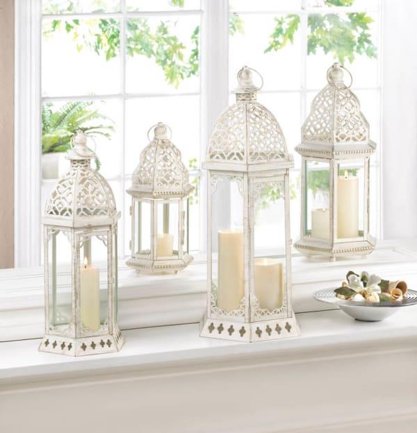 Graceful Distressed White Large Lantern
