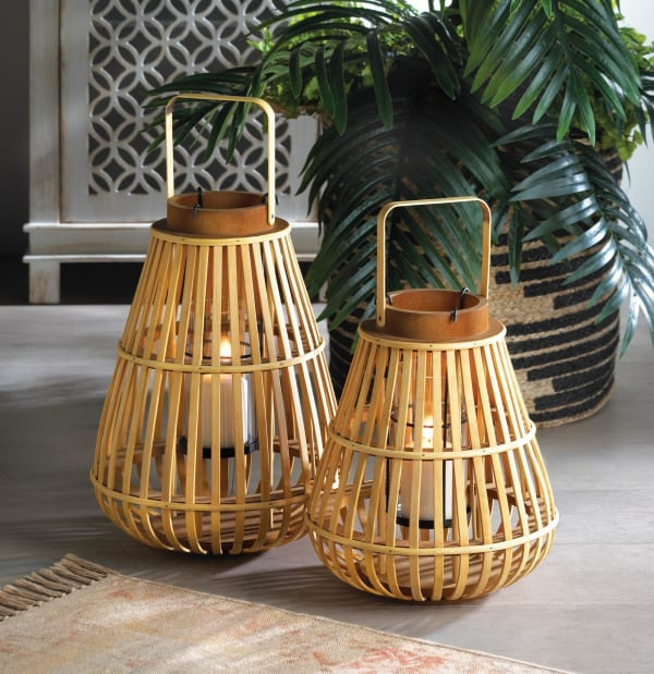 Large Slat Wood Lantern