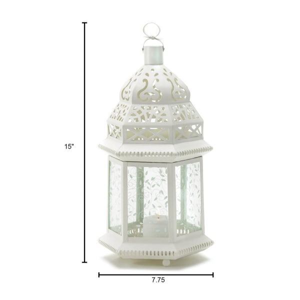 Large White Metal Moroccan Style Hanging Candle Lantern with Etched Floral Glass