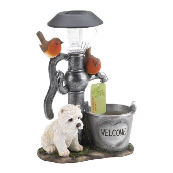 Little Pup and Water Pump Solar Light