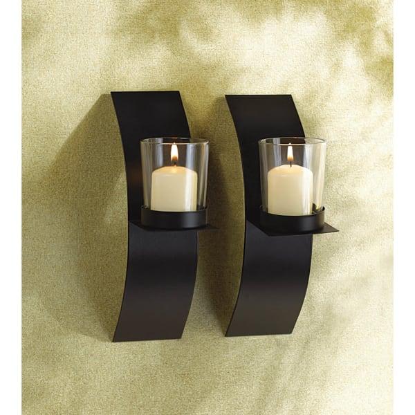 Mod-Art Candle Wall Sconce Set
