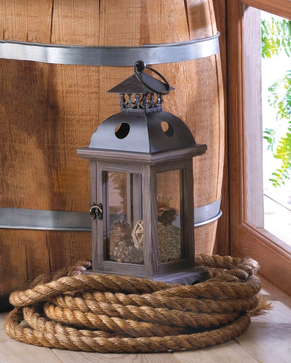 Rustic Antique Small Wooden Hanging Monticello Candle Lantern