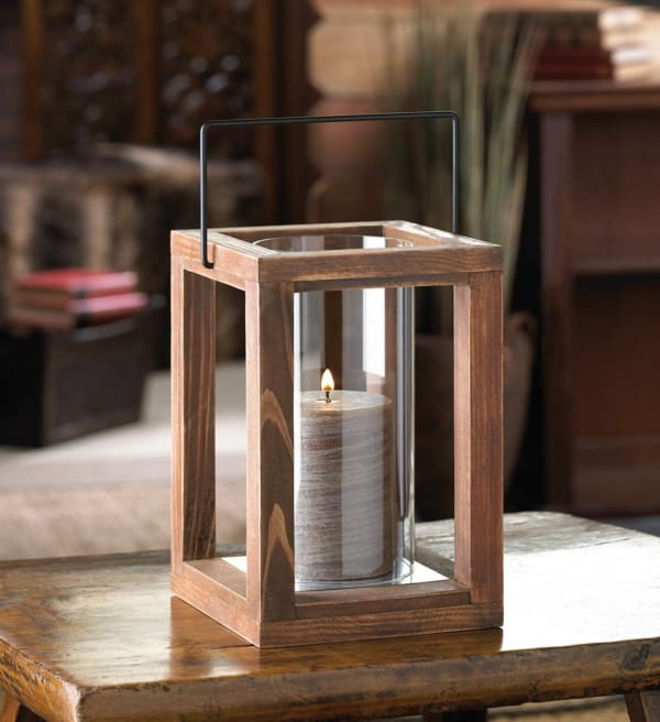 Rustic Garden Wooden Lantern