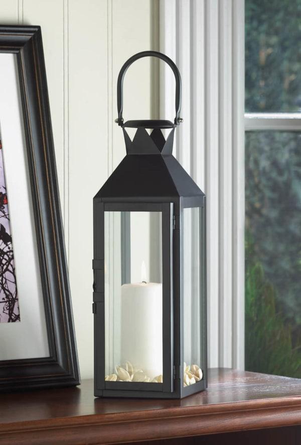 Sleek Black Metal Manhattan Candle Lantern with Handle