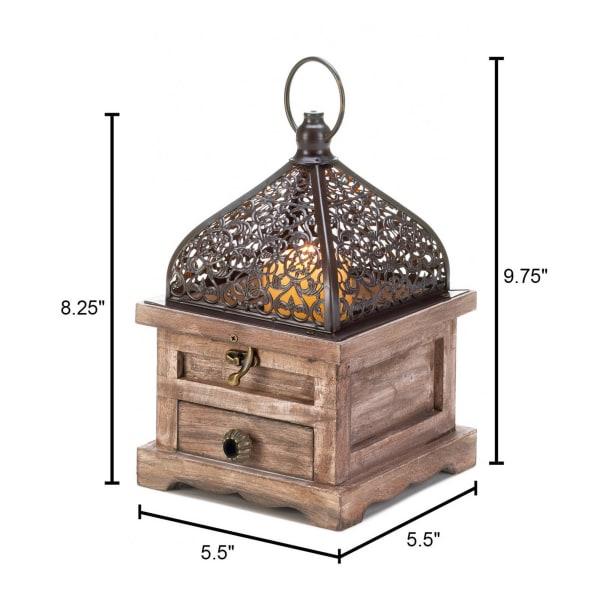 Small Flip-Top Wooden Lantern