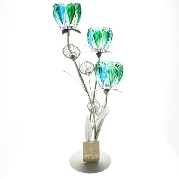 Triple Peacock Bloom Candleholder