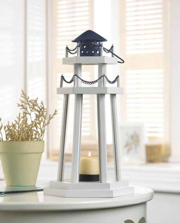 White Wooden Lighthouse Hanging Candle Lantern with Chain Detailing