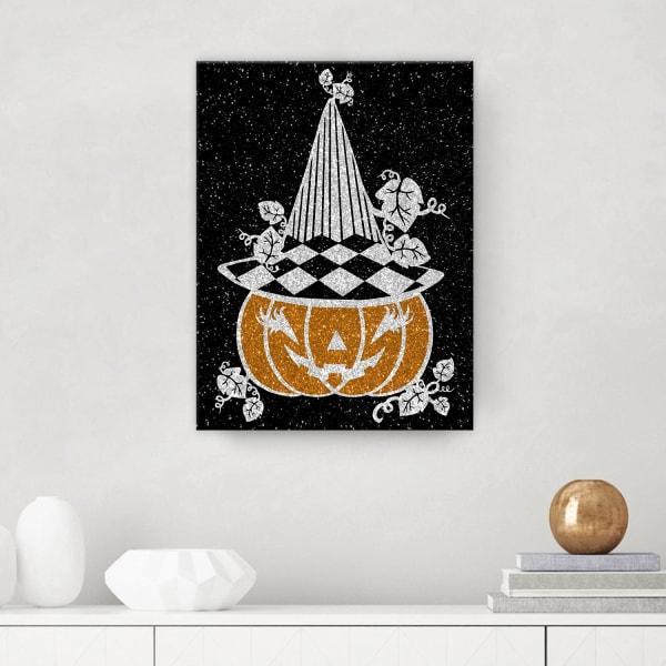 Glamoween Pumpkin V Black Halloween Canvas Wall Art