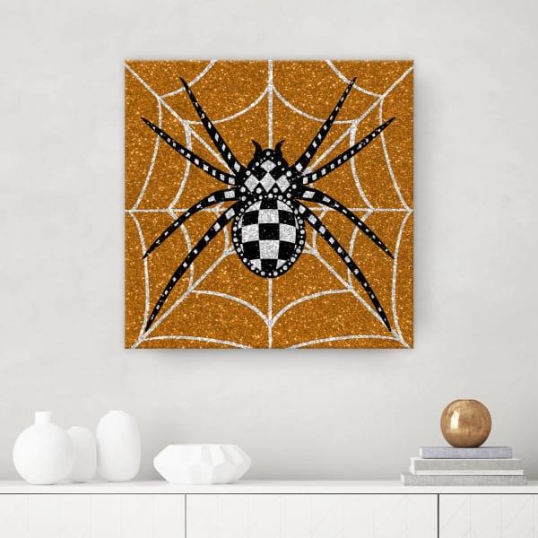 Glamoween Spider I Copper Halloween Canvas Wall Art