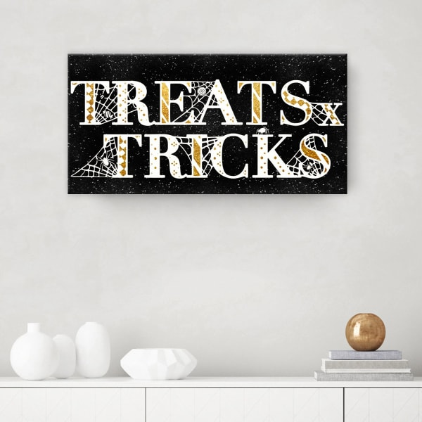 Treats & Tricks Black Halloween Canvas Wall Art