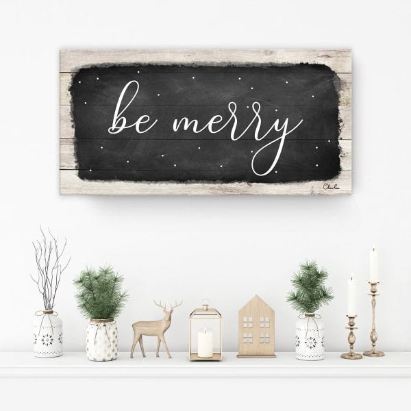 Be Merry Black Holiday Canvas Wall Art