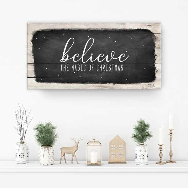 Believe I Black Holiday Canvas Wall Art