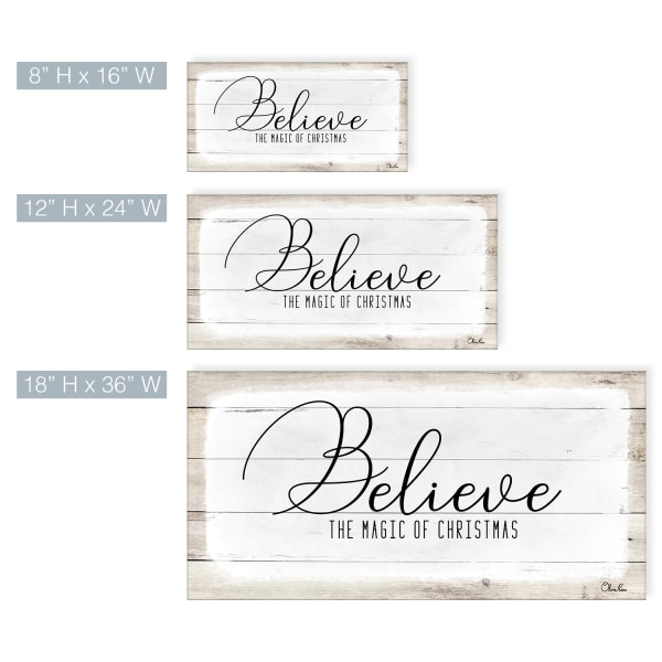 Believe II White Holiday Canvas Wall Art