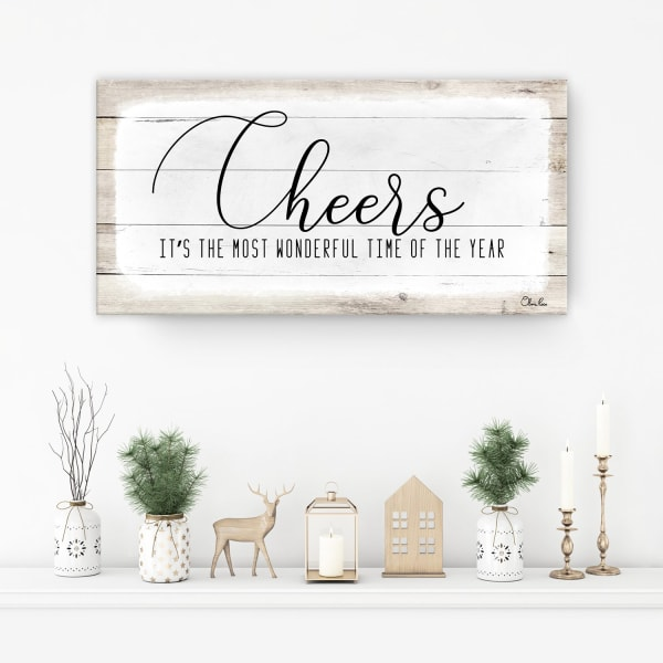 Cheers White Holiday Canvas Wall Art