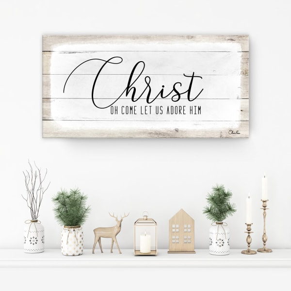 Christ White Holiday Canvas Wall Art