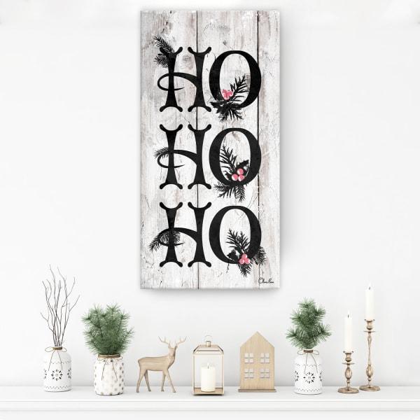 Ho Ho Ho Beige Holiday Canvas Wall Art